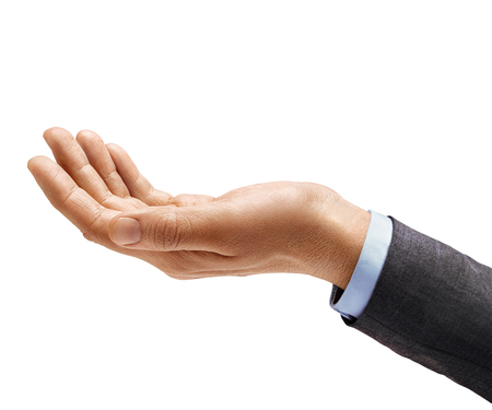 Mans hand in suit begs to something isolated on white background. Palm up, close up. High resolution product