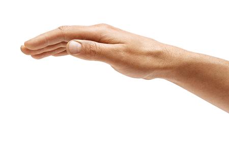 Handzeichen des Mannes lokalisiert auf weißem Hintergrund. Umgedrehte offene Handfläche, Nahaufnahme. Hochauflösendes Produkt