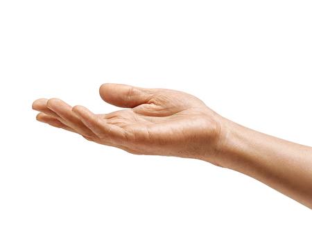 Signe de la main de l'homme isolé sur fond blanc. Paume vers le haut, gros plan. Produit haute résolution Banque d'images