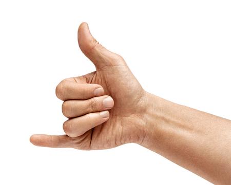 La mano del hombre muestra una señal para hacer una llamada telefónica. De cerca. Producto de alta resolución