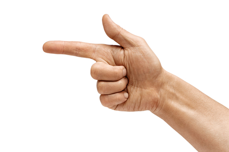 Mans hand points a finger at something isolated on white background. High resolution product. Close up 写真素材