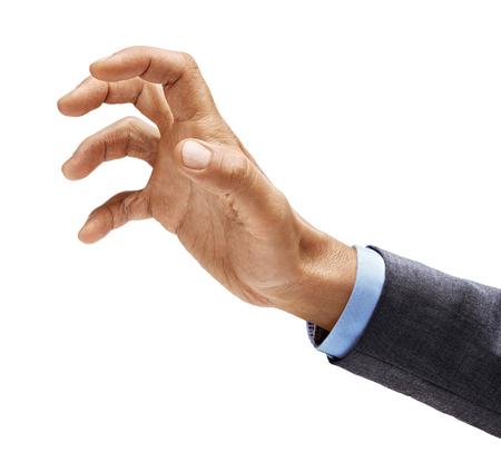 Mano d'uomo in tuta che afferra qualcosa di isolato su sfondo bianco. Avvicinamento. Prodotto ad alta risoluzione Archivio Fotografico