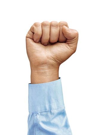 Mans hand in shirt with closed fist isolated on white background. Close up. High resolution product