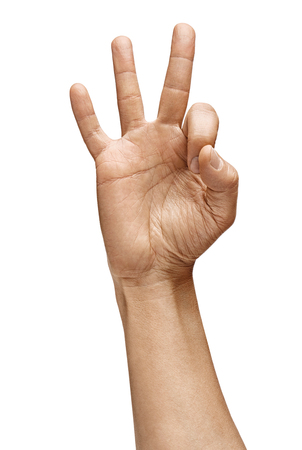 Man's hand shows gesture okay. Positive concept. Close up. High resolution product Archivio Fotografico - 122283325