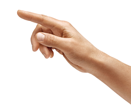 Mans hand touching or pointing to something isolated on white background. Close up. High resolution. 스톡 콘텐츠