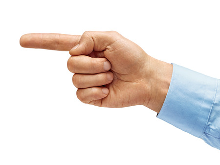 Man's hand in a shirt points a finger at something isolated on white background. High resolution product. Close up 写真素材 - 123396242