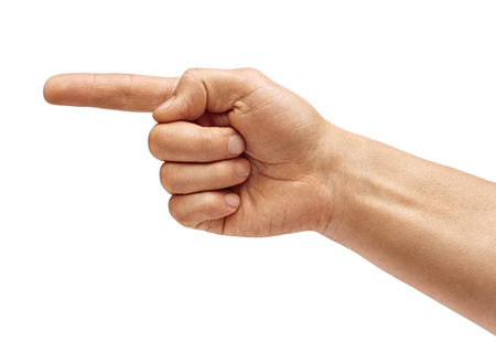 Mans hand points a finger at something isolated on white background. High resolution product. Close up 스톡 콘텐츠