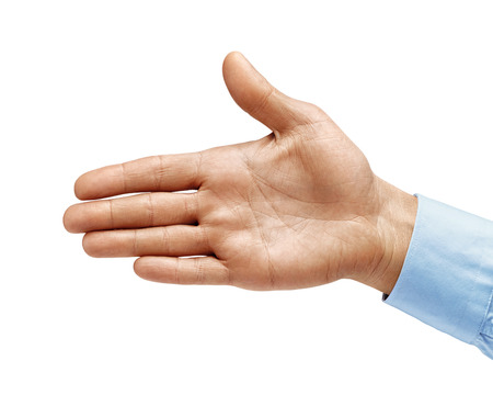 Man's hand in a shirt outstretched in greeting isolated on white background. Close up. High resolution product
