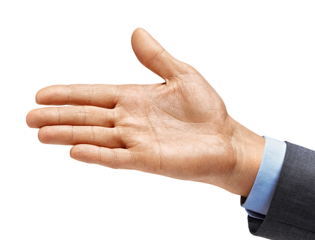 Man's hand in suit outstretched in greeting isolated on white background. Close up. High resolution product Stockfoto