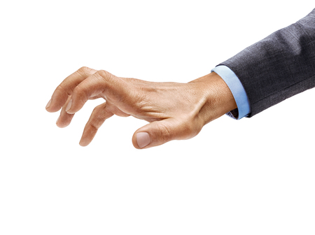 Man's hand in suit grabbing to something isolated on white background. Close up. High resolution product