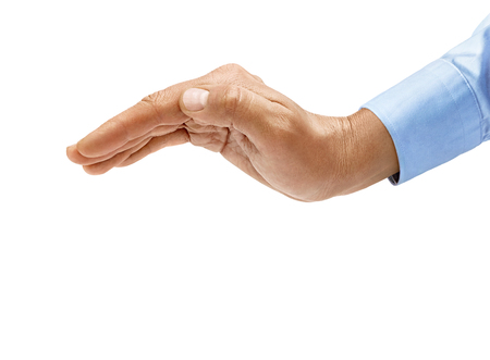Man's hand in shirt makes a gesture of protection isolated on white background. Inverted open palm, close up. High resolution product 写真素材 - 123396303