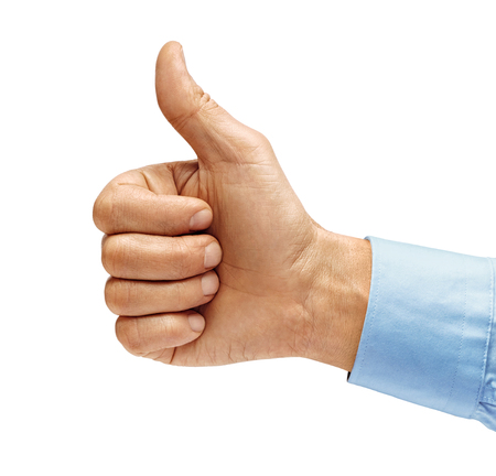 Mans hand in shirt showing thumb up - like sign, isolated on white background. Close up. Positive concept. High resolution product.