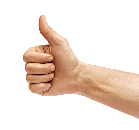 Mano d'uomo che mostra pollice in su - come segno, isolato su sfondo bianco. Avvicinamento. Concetto positivo. Prodotto ad alta risoluzione. Archivio Fotografico