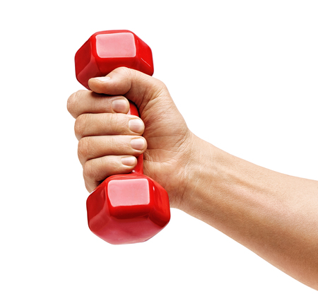 Mans hand holds red dumbbell isolated on white background. Close up. Concept of healthy lifestyle