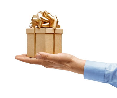 Mans hand in a shirt holds gift box isolated on white background. High resolution product