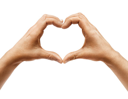 Two hands making heart sign isolated on white background. Close up, high resolution product Banco de Imagens