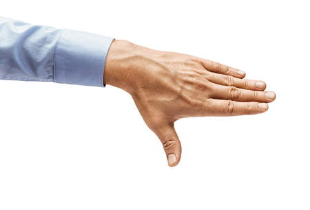 Mans hand in a shirt closes something isolated on white background. Close up. High resolution product