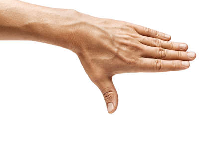 Mans hand closes something isolated on white background. Close up. High resolution product