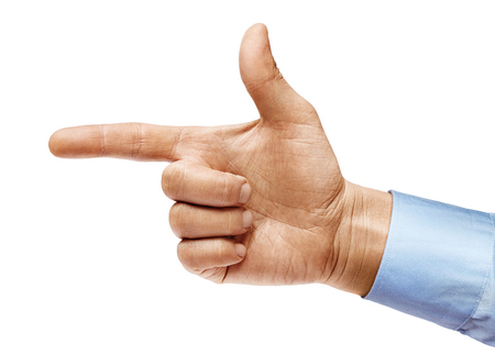 Mans hand in a shirt points a finger at something isolated on white background. High resolution product. Close up