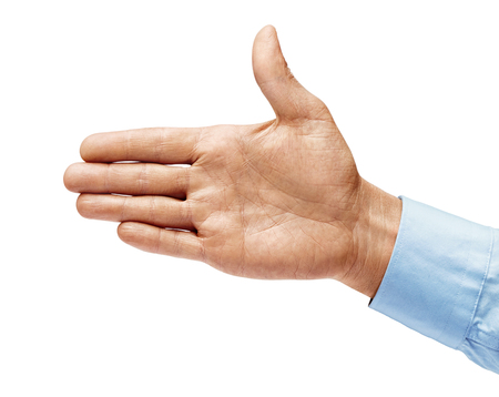 Man's hand in a shirt outstretched in greeting isolated on white background. Close up. High resolution 写真素材 - 123395882