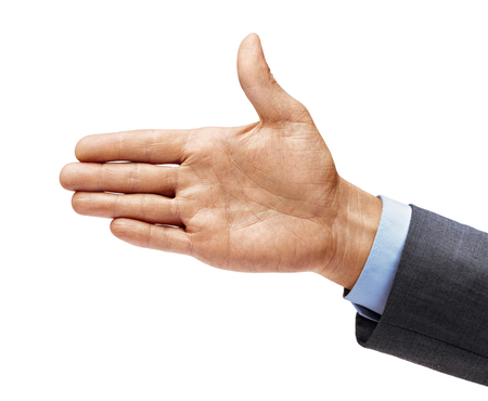 Man's hand in a suit outstretched in greeting isolated on white background. Close up. High resolution 写真素材 - 123395883