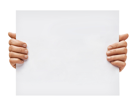 Copy space for your text. Man's hands holding empty board isolated on white background. Close up. High resolution Archivio Fotografico