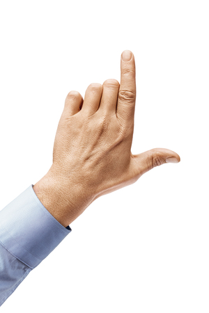 Mans hand in a shirt pointing to something isolated on white background. Close up. High resolution product 写真素材