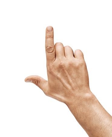 Mans hand touching or pointing to something isolated on white background. Close up. High resolution product.