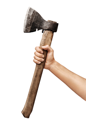 Mans hand holds an axe isolated on white background. Close up. High resolution Stock Photo