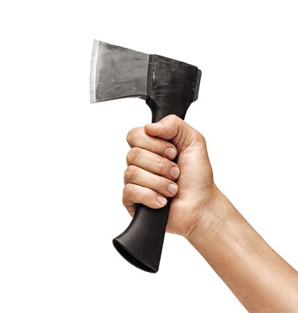 Close up of mans hand holding an axe isolated on white background. High resolution product
