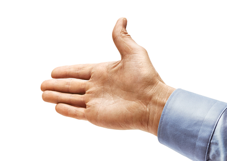 Mans hand in a shirt outstretched in greeting isolated on white background. Close up. High resolution product Stock Photo