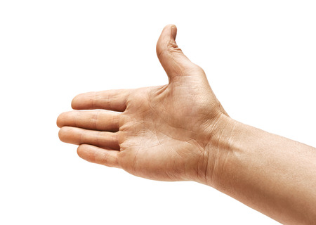 Mans hand outstretched in greeting isolated on white background. Close up. High resolution