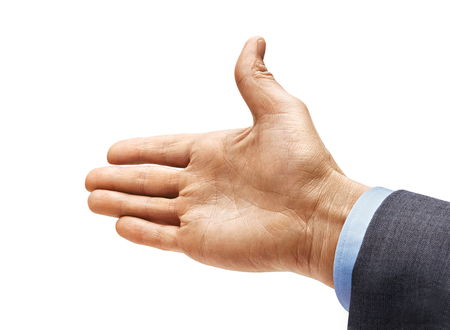 Mans hand in a suit outstretched in greeting isolated on white background. Close up. High resolution product
