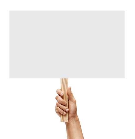 Mans hand holding empty board on white background. Copy space for your text. Close up. High resolution product