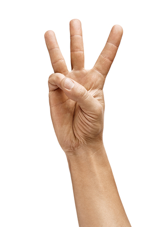 Mans hand shows three fingers isolated on white background. Sign - number three. Close up. High resolution product