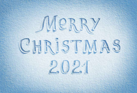 Merry Christmas! Background of snow texture in blue tone. High resolution product, top view