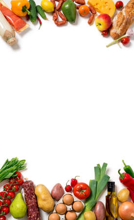Healthy food background. Different fruits and vegetables. Top view.