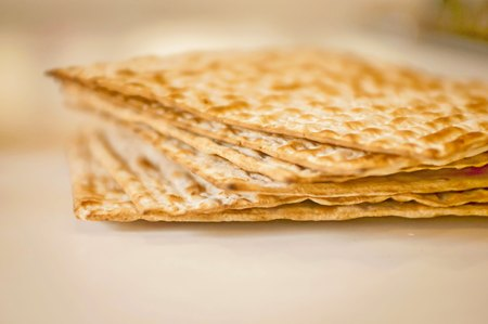 A pile of matzah unleavened bread illustration. Jewish Passover, Pesach concept.