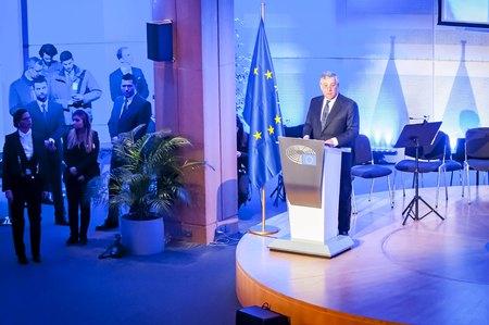 conservative: BRUSSELS, BELGIUM. January 25, 2017. Antonio Tajani, an Italian politician and President of the European Parliament since January 2017. Editorial