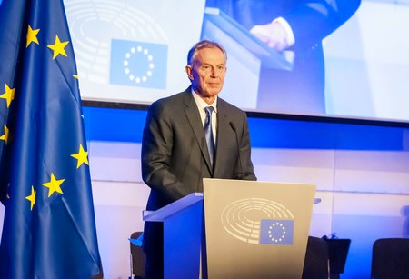 BRUSSELS, BELGIUM. January 25, 2017. Tony Blair of Great Britain, speaking in the European Parliament. He is a former British Prime Minister and Special Envoy of the Quartet on the Middle East. Редакционное