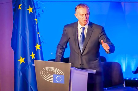 BRUSSELS, BELGIUM. January 25, 2017. Tony Blair of Great Britain, speaking in the European Parliament. He is a former British Prime Minister and Special Envoy of the Quartet on the Middle East. Editorial