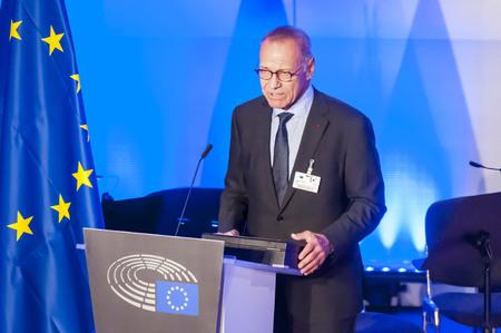 screenwriter: BRUSSELS, BELGIUM. January 25, 2017. Andrei Konchalovsky, a prominent Russian filmmaker, speaking in the European Parliament in Brussels.