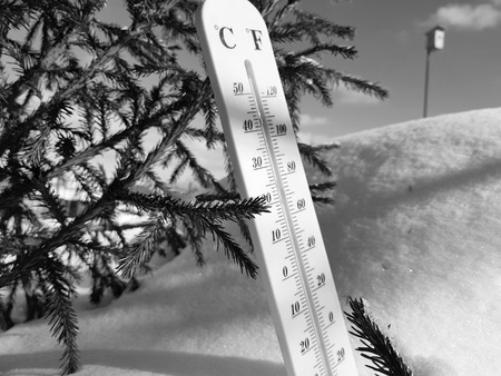 street thermometer with a temperature of Celsius and Fahrenheit on the snow next to a young spruce in winter or spring Stok Fotoğraf