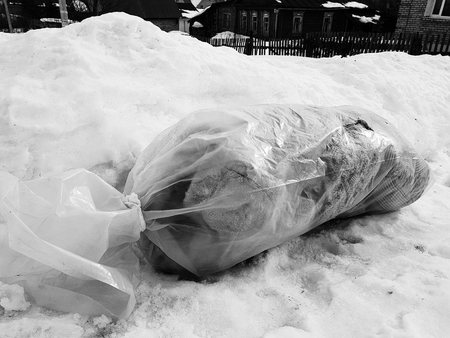 A large package of garbage lies right on the road against the backdrop of snow in winter or spring Banco de Imagens - 120787782