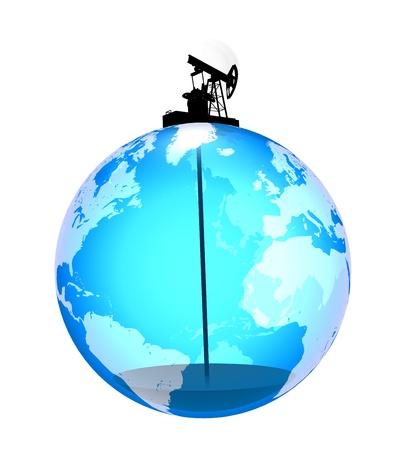 oliepomp op de planeet trekt de laatste druppels van de olie