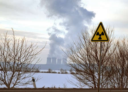 Sign of the radioactivity with nuclear power background photo