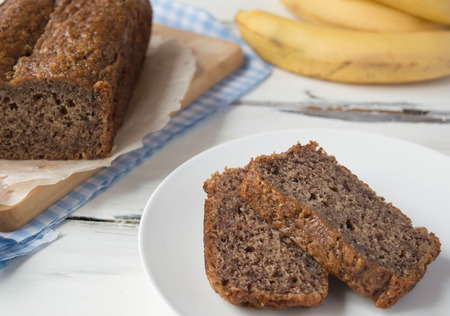 backing: healthy backing, banana bread Stock Photo