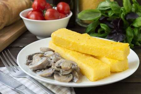 souse: polenta and mashroom souse Stock Photo