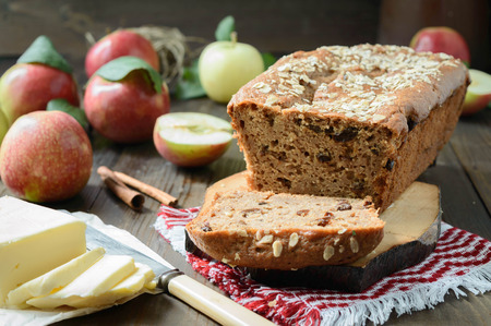 sunflower oil: apple bread made from applesauce, with raisins, sunflower oil and whole grain flour perfect fro breakfast
