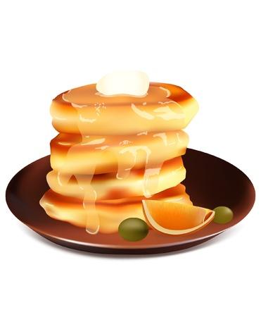 segmentar: Crepes con la uva, miel y naranja segmento